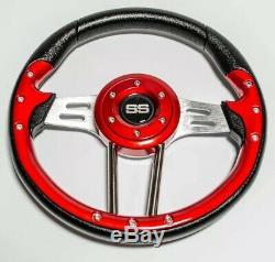 Classic Golf Cart Red Black Steering Wheel Chrome Spoke For Ezgo Club Car Yamaha