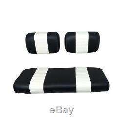 Club Car DS Golf Cart 1979-1999 Custom Front Seat Cushions Black/White