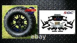 Club Car DS Golf Cart 6 A-Arm Lift Kit + 12 Wheels and 22 M/T Tires 1982-2003