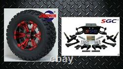 Club Car DS Golf Cart 6 A-Arm Lift Kit + 12 Wheels and 23 AT Tires 1982-2003
