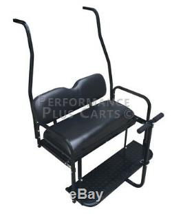 Club Car DS Golf Cart Flip Folding Rear Back Seat Kit Black Cushions