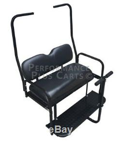 Club Car DS Golf Cart Flip Folding Rear Back Seat Kit with Diamond Plate Black
