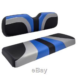Club Car Ds Front Golf Cart Seat Covers In Blue/ Black Carbon Fiber & Silver