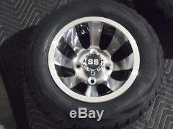 Club Car Golf Cart 10 Aluminum Cyclone Wheels Mounted 205/50-10 Street Legal