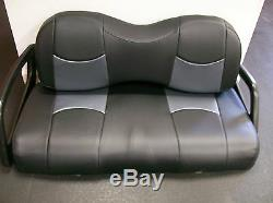 Club Car Precedent Golf Cart Deluxe Seat Covers-Front and Rear(Blk/Gry btm CF)