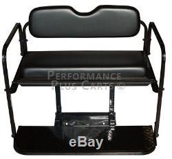 Club Car Precedent Golf Cart Flip Folding Rear Back Seat Kit Black Cushions