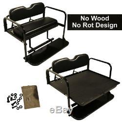 Club Car Precedent Golf Cart Flip Folding Rear Back Seat Kit for 2004-Up Black