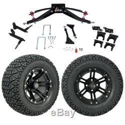Club Car Precedent Golf Cart GTW Lift Kit, A/T Tires & 12 Black Specter Wheels