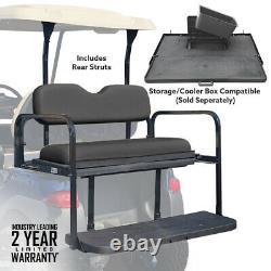 Club Car Precedent Rear Flip Seat Folding Black Cushions 2004-Up Golf Carts