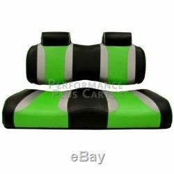 Club Car Precedent Tsunami Golf Cart Front Seat Cushion Set Black and Green