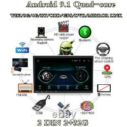 Double 2Din Android 9.1 Car Stereo Radio 9 Touch Screen MP5 Player GPS RAM 2G