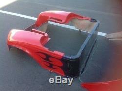 Ezgo txt custom body cowl front rear tribal golf cart red black