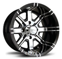 Fairway Alloys 12 Aggressor Gloss Black Golf Cart Wheels E-Z-GO & Club Car