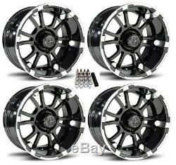 Fairway Alloys 12 Sixer Gloss Black Golf Cart Wheels/Rims E-Z-GO & Club Car