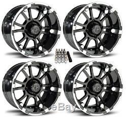Fairway Alloys 14 Sixer Gloss Black Golf Cart Wheels/Rims E-Z-GO & Club Car