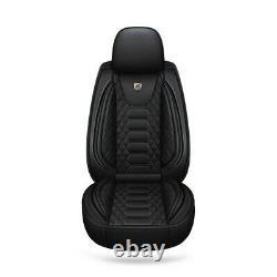 Full-surround Car 5-Sits Seat Covers Cushion Full Set Black PU Leather US Stock