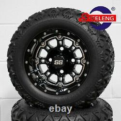 GOLF CART 10 BLACK PANTHER WHEELS/RIMS and 18x9-10 DOT ALL TERRAIN TIRES (4)