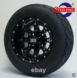 GOLF CART 10 BLACK PANTHER WHEELS and GECKO 18 205/50-10 TURF/STREET TIRES