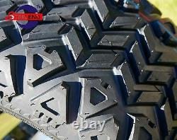 GOLF CART 10 BLACK STEEL WHEELS/RIMS and 18x9-10 DOT ALL TERRAIN TIRES (4)