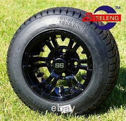 GOLF CART 10 BLACK VAMPIRE WHEELS/RIMS and 205/50-10 DOT LOW PROFILE TIRES (4)
