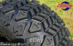 GOLF CART 10 MACHINED BLACK BULLDOG WHEELS and 20 ALL TERRAIN TIRES (4)