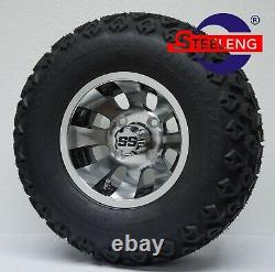 GOLF CART 10 MACHINED BLACK REVOLVER WHEELS and 20 ALL TERRAIN TIRES (4)