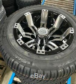 GOLF CART 10 MACHINED TEMPEST WHEELS/RIMS and 205/50-10 DOT LOW PROFILE TIRES