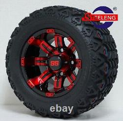 GOLF CART 10 RED-BLACK TEMPEST WHEELS/RIMS and 18x9-10 DOT AT TIRES (4)