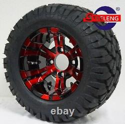 GOLF CART 10 RED/BLACK VAMPIRE WHEELS/RIMS and 18x9-10 DOT STINGER A/T TIRES