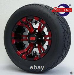 GOLF CART 10 RED/BLACK VAMPIRE WHEELS/RIMS and GECKO 18 LOW PROFILE TIRES