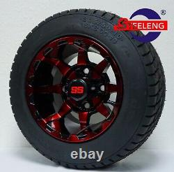 GOLF CART 10 RED-BLACK VORTEX WHEELS and 205/50-10 DOT LOW PROFILE TIRES(4)