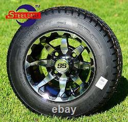GOLF CART 10 VORTEX WHEELS/RIMS and 205/50-10 DOT LOW PROFILE TIRES (4)