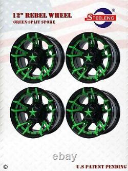 GOLF CART 12 BLACK'REBEL' ALUMINUM WHEELS / RIMS witht GREEN SPLIT-SPOKE
