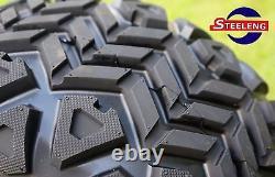 GOLF CART 12 BLACK STEEL WHEELS and 20x10-12 ALL TERRAIN TIRES (SET OF 4)