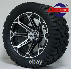 GOLF CART 12'FANG' WHEELS/RIMS and 20 STINGER ALL TERRAIN TIRES (DOT RATED)