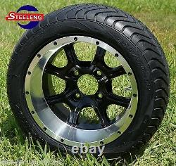 GOLF CART 12 GHOST WHEELS and 215/40-12 LOW PROFILE TIRES(SET OF 4)