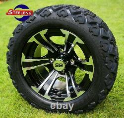GOLF CART 12 MACHINED BLADE ALUMINUM WHEELS and 20 AT TIRES (SET OF 4)