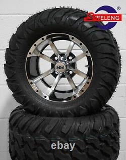 GOLF CART 12 MACHINED STORM TROOPER WHEELS/RIMS and 22x11-12 AT/MT DOT TIRES