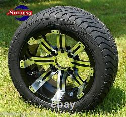 GOLF CART 12 TEMPEST WHEELS and 215/40-12 DOT LOW PROFILE TIRES (SET OF 4)