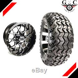 GOLF CART 12 VORTEX WHEELS and 22 AT TIRES LIFT REQUIRED (SET OF 4)