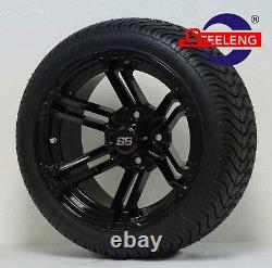 GOLF CART 14 BLACK TERMINATOR WHEELS and 205/30-14 DOT LOW PROFILE TIRES (4)