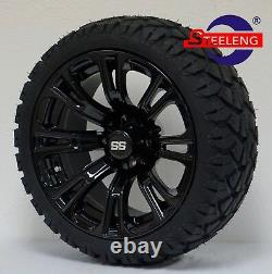 GOLF CART 14 BLACK VOODOO WHEELS and 20 STINGER ALL TERRAIN TIRES DOT RATED