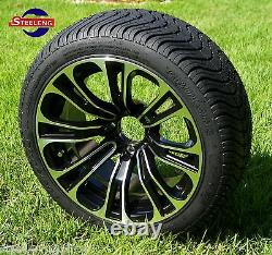 GOLF CART 14 VECTOR WHEELS and 205/30-14 DOT LOW PROFILE TIRES (SET OF 4)