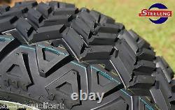 GOLF CART 14x7 BLACK VOODOO WHEELS and 23x10-14 DOT ALL TERRAIN TIRES (4)
