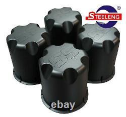 GOLF CART 14x7 MATT BLACK TURBINE WHEELS and 23 DOT ALL TERRAIN TIRES (4)