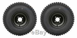 GOLF CART 8 BLACK STEEL WHEELS and 18x9.5-8 KNOBBY TIRES (SET OF 2)