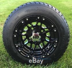 Golf Cart 10 Hd3 Gloss Black Wheels & 205/50-10 Dot Street Tires (set Of 4)