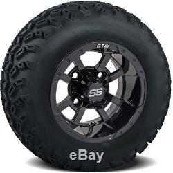 Golf Cart 10x7 Black Storm Trooper Wheels Mounted on 22 All Terrain Tires Combo