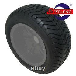 Golf Cart 12 Black Night Stalker Wheels + 215/50-12 Comfort Ride Dot Tires(4)