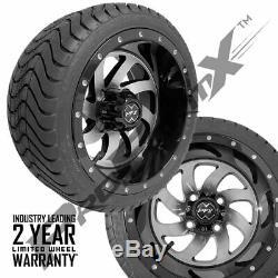 Golf Cart 12 PHANTOM Machined/Black Wheels on 215/35-12 Venom Streets Set